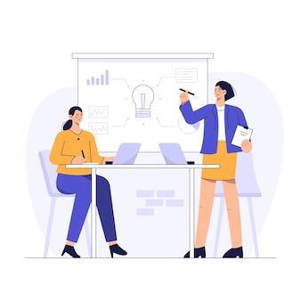 A gerência apresenta um plano de trabalho para otimização dos funcionários na sala de reuniões