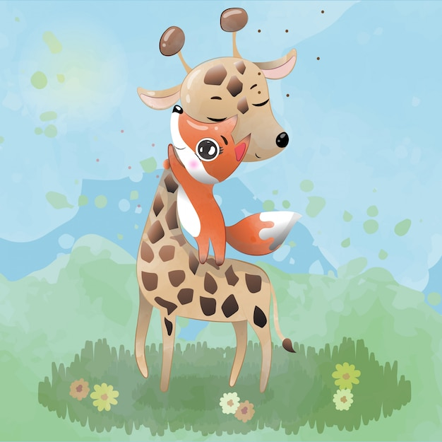 A girafa bebê e o personagem fofo de raposa pintado com aquarelas