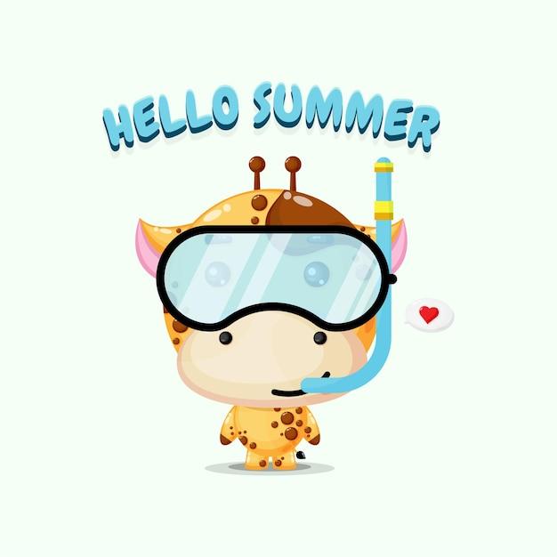 A girafa fofa mascote com equipamento de mergulho e cumprimentos de verão