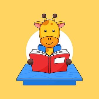 A girafa lê o livro na mesa da sala de aula para ver a ilustração do esboço da atividade escolar