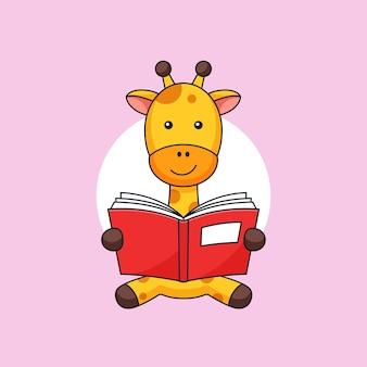 A girafa senta e gosta de ler um livro para crianças de animais, mascote de ilustração de contorno de atividade de estudante