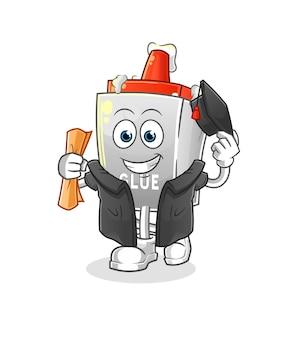 A graduação da cola. personagem de desenho animado