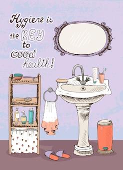 A higiene é a chave para uma boa saúde - mensagem motivacional na parede do interior de um banheiro