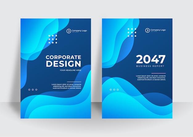 A identidade corporativa azul moderna cobre o fundo do projeto do vetor de negócios. folheto, folheto, publicidade, fundo abstrato. folheto modelo de layout de revista de pôster moderno. relatório anual para apresentação.
