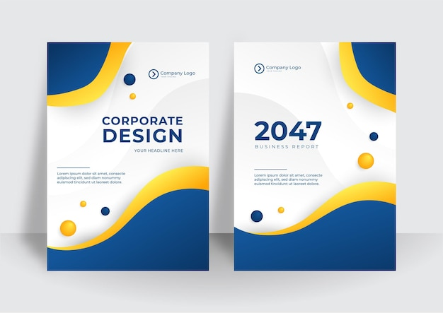 A identidade corporativa moderna azul amarela cobre o fundo do projeto do vetor de negócios. folheto, folheto, publicidade, fundo abstrato. folheto modelo de layout de revista de pôster moderno. capa do relatório anual.