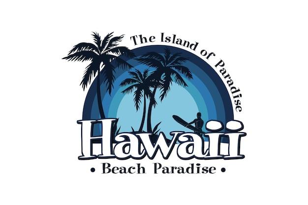 A ilha do paraíso, praia paradisíaca do havaí, design lodo estilo retro