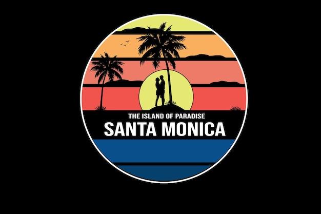A ilha do paraíso santa monica cor amarelo laranja e azul