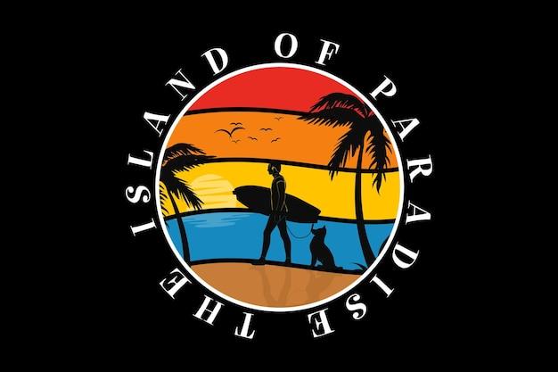 A ilha paradisíaca, design silt estilo retro