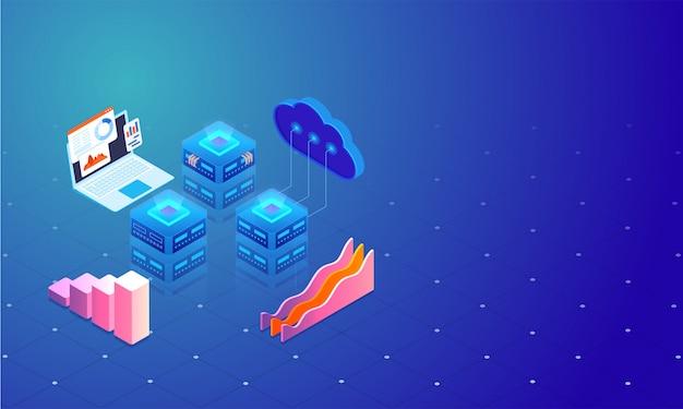 A ilustração 3d do servidor da nuvem conecta aos servidores locais.