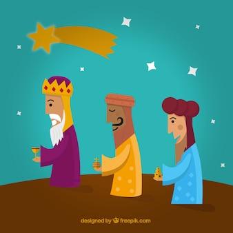 A ilustração a três homens sábios