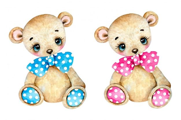 A ilustração da aquarela de um urso de peluche bonito dos desenhos animados ajustou-se em um fundo branco. urso de pelúcia menino com um laço azul e uma menina de ursinho de pelúcia com um laço rosa