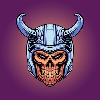 A ilustração da cabeça de viking do crânio