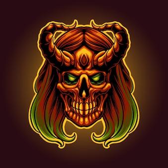 A ilustração da cabeça do crânio do diabo