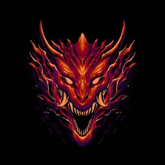 A ilustração da cabeça do dragão monstro