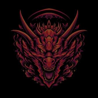 A ilustração da cabeça do dragão verde