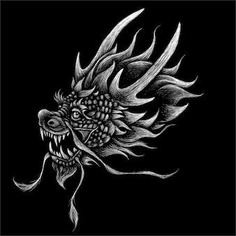 A ilustração da cabeça do dragão