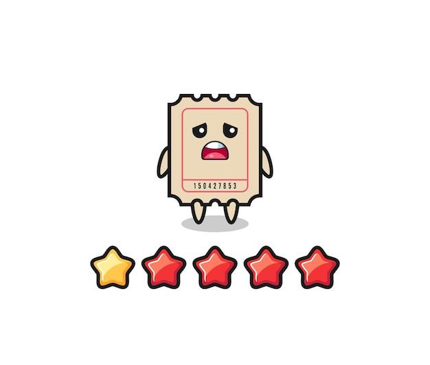 A ilustração da classificação negativa do cliente, bilhete personagem fofo com 1 estrela, design de estilo fofo para camiseta, adesivo, elemento de logotipo