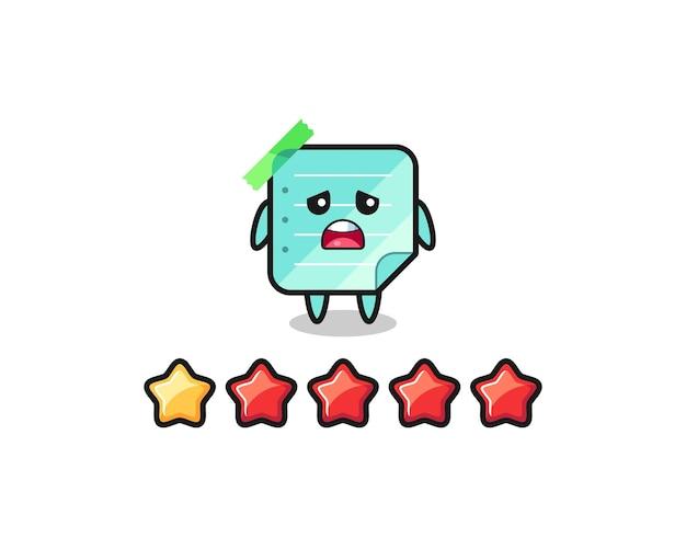 A ilustração da classificação negativa do cliente, notas adesivas azuis, personagem fofo com 1 estrela, design de estilo fofo para camiseta, adesivo, elemento de logotipo