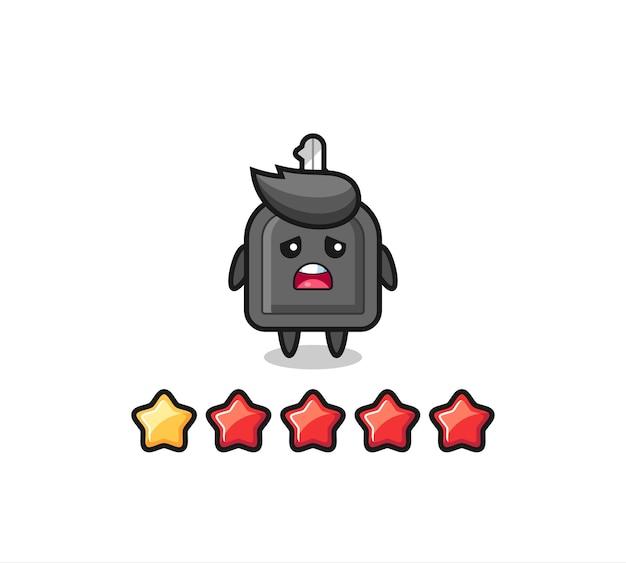 A ilustração da classificação negativa do cliente, personagem fofo chave do carro com 1 estrela, design de estilo fofo para camiseta, adesivo, elemento de logotipo