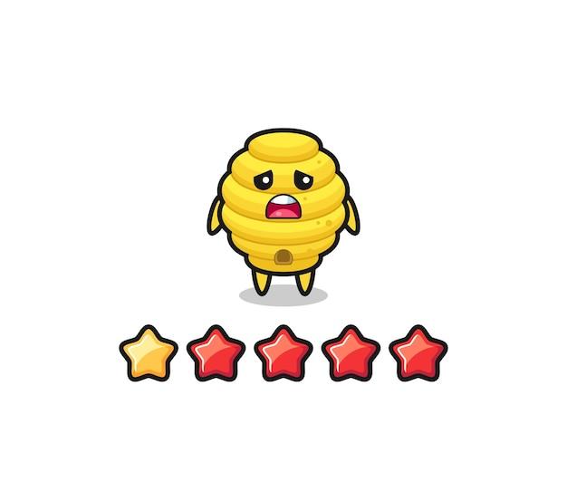 A ilustração da classificação negativa do cliente, personagem fofo da colmeia de abelhas com 1 estrela, design fofo
