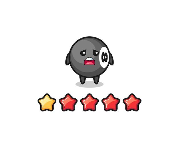 A ilustração da classificação negativa do cliente, personagem fofo de bilhar de 8 bolas com 1 estrela, design de estilo fofo para camiseta, adesivo, elemento de logotipo