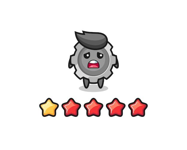 A ilustração da classificação negativa do cliente, personagem fofo de engrenagem com 1 estrela, design de estilo fofo para camiseta, adesivo, elemento de logotipo