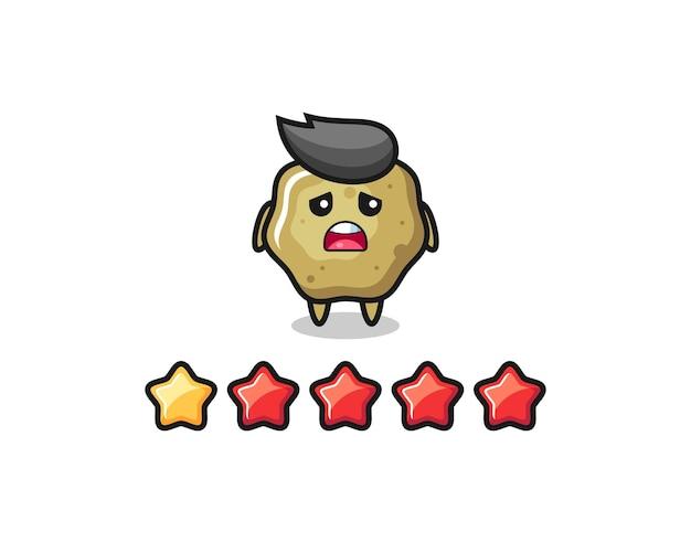 A ilustração da classificação negativa do cliente, personagem fofo de fezes soltas com 1 estrela, design de estilo fofo para camiseta, adesivo, elemento de logotipo