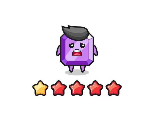 A ilustração da classificação negativa do cliente, personagem fofo de pedra preciosa roxa com 1 estrela, design de estilo fofo para camiseta, adesivo, elemento de logotipo