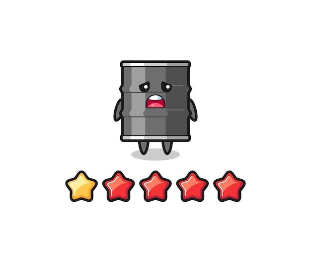 A ilustração da classificação negativa do cliente, personagem fofo de tambor de óleo com 1 estrela, design fofo
