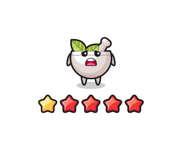A ilustração da classificação negativa do cliente, personagem fofo tigela de ervas com 1 estrela, design de estilo fofo para camiseta, adesivo, elemento de logotipo