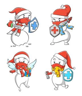 A ilustração da coleção do sr. boneco de neve segurando o escudo saudável para proteger o corpo do vírus
