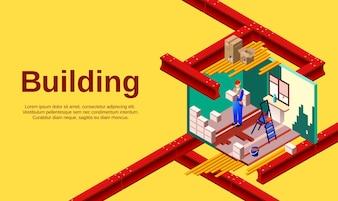 A ilustração da construção da tecnologia da construção da sala e o construtor trabalham no seção transversal.