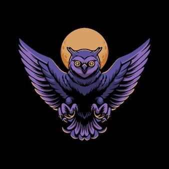 A ilustração da coruja voando sobre a lua