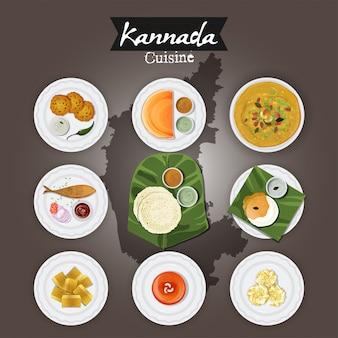 A ilustração da culinária do kannada ajustou-se no fundo do mapa do estado.