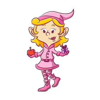 A ilustração da elfa de vestido rosa está segurando o presente e as maçãs vermelhas para a amiga