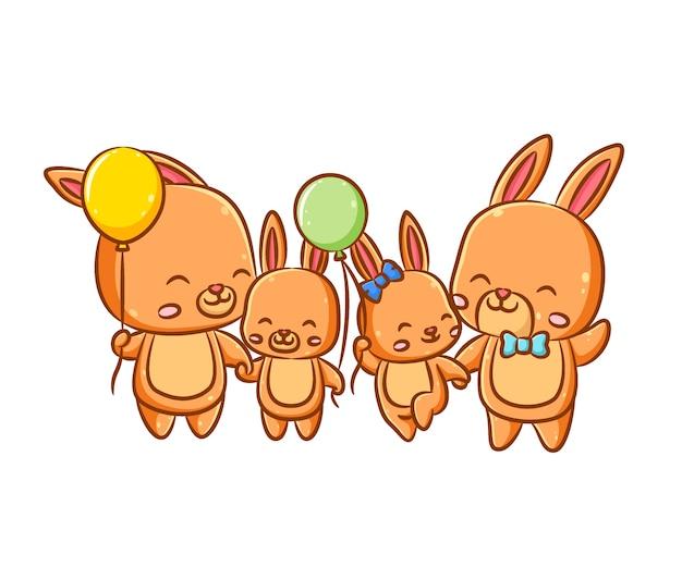 A ilustração da feliz família dos coelhos laranja e seus pais segura os balões nas mãos.