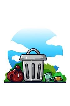 A ilustração da lata de lixo desenho à mão