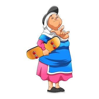A ilustração da mãe usando a camisa azul e segurando a prancha marrom do skate