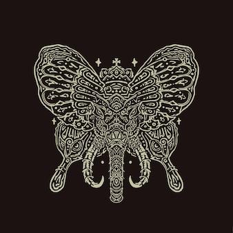 A ilustração da mandala do elefante borboleta