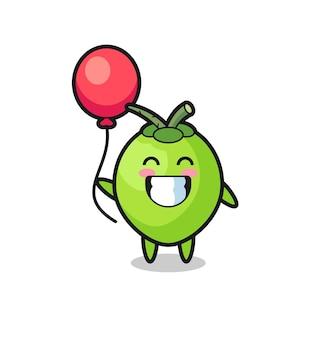 A ilustração da mascote do coco está jogando balão, design de estilo fofo para camiseta, adesivo, elemento de logotipo