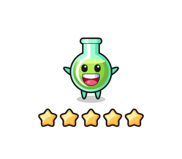 A ilustração da melhor avaliação do cliente, béqueres de laboratório com 5 estrelas, design de estilo fofo para camisetas, adesivo, elemento de logotipo