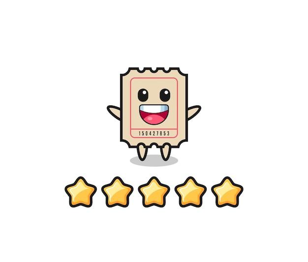 A ilustração da melhor avaliação do cliente, bilhete personagem fofo com 5 estrelas, design de estilo fofo para camiseta, adesivo, elemento de logotipo