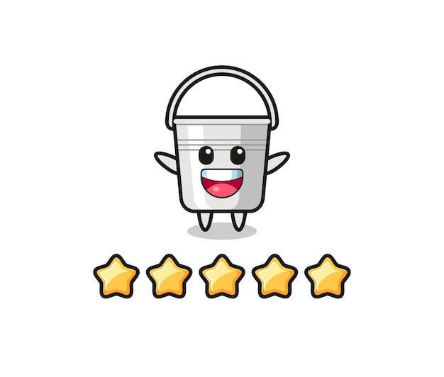 A ilustração da melhor avaliação do cliente, personagem fofo com balde de metal com 5 estrelas, design de estilo fofo para camiseta, adesivo, elemento de logotipo