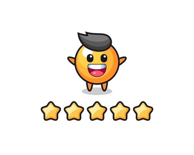 A ilustração da melhor avaliação do cliente, personagem fofo da bola de pingue-pongue com 5 estrelas, design de estilo fofo para camiseta, adesivo, elemento de logotipo