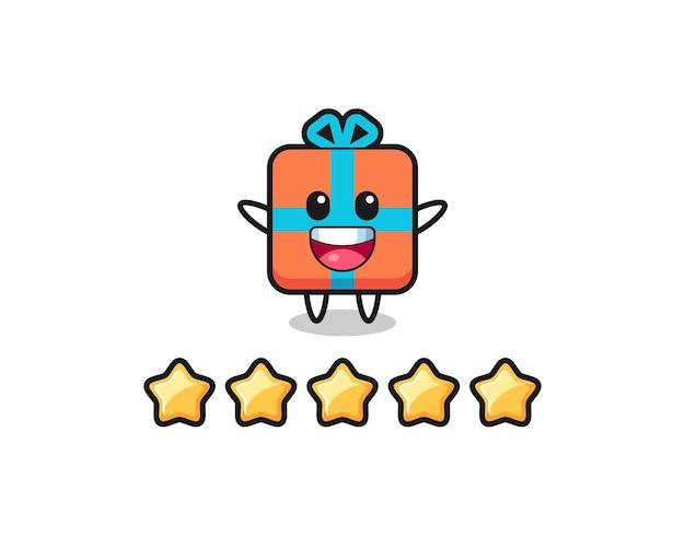 A ilustração da melhor avaliação do cliente, personagem fofo da caixa de presente com 5 estrelas, design de estilo fofo para camiseta, adesivo, elemento de logotipo