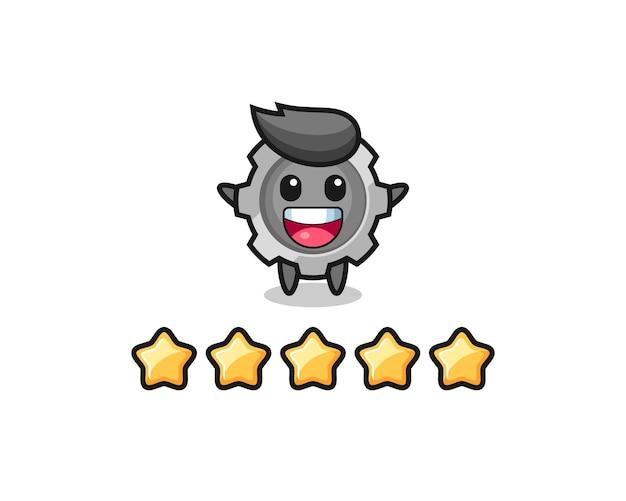 A ilustração da melhor avaliação do cliente, personagem fofo da engrenagem com 5 estrelas, design de estilo fofo para camiseta, adesivo, elemento de logotipo