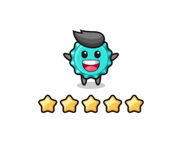 A ilustração da melhor avaliação do cliente, personagem fofo da tampa da garrafa com 5 estrelas, design de estilo fofo para camiseta, adesivo, elemento de logotipo