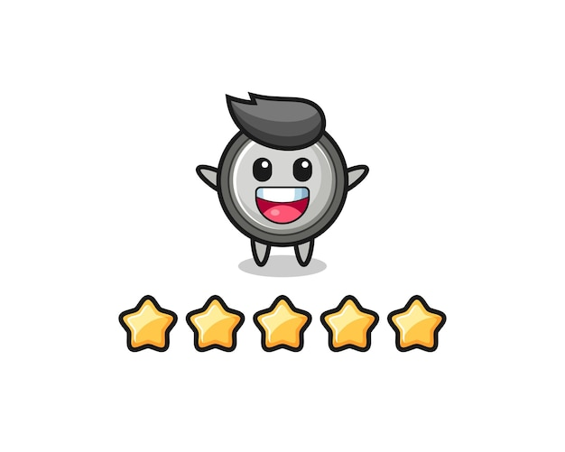 A ilustração da melhor avaliação do cliente, personagem fofo de célula de botão com 5 estrelas, design de estilo fofo para camiseta, adesivo, elemento de logotipo