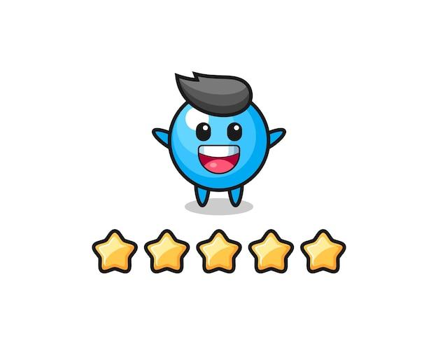 A ilustração da melhor avaliação do cliente, personagem fofo de chiclete com 5 estrelas, design de estilo fofo para camiseta, adesivo, elemento de logotipo