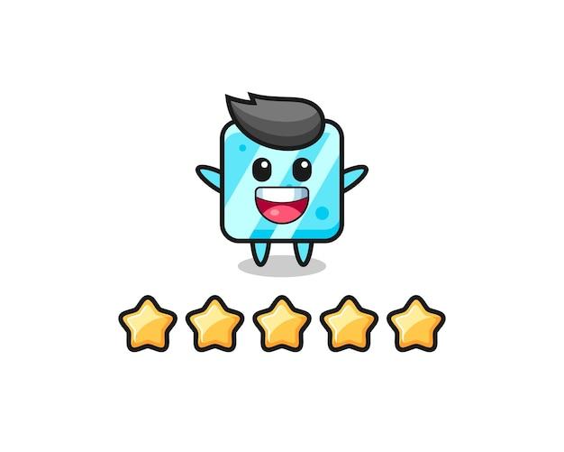 A ilustração da melhor avaliação do cliente, personagem fofo de cubo de gelo com 5 estrelas, design de estilo fofo para camiseta, adesivo, elemento de logotipo Vetor Premium